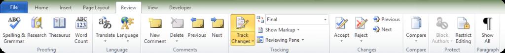 Microsoft Word Track Changes Bar